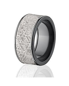 Wide Meteorite Rings 10mm W Comfort Fit Custom Bands