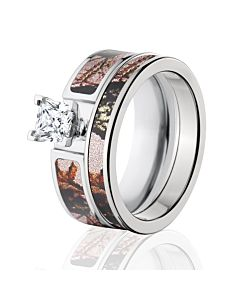 Mossy Oak Pink Break Up Camo Bridal Set Womens Ring Sets
