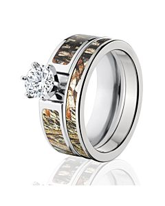 mossy oak duck blind womens camo bridal set camo rings sets - Camo Wedding Rings With Real Diamonds