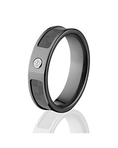 6mm Diamond Carbon Fiber Rings, Custom Carbon Fiber Wedding Bands