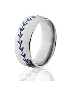 titanium baseball rings blue baseball bands - Sports Wedding Rings