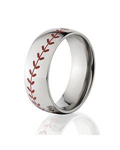 boxed titanium red stitch baseball ring sports rings mlb - Sports Wedding Rings