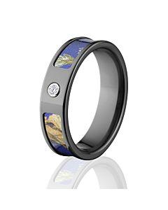 Realtree AP Purple Camo Rings, Camouflage Wedding Bands, AP Purple Black  Zirconium Camo Ring W/ Diam
